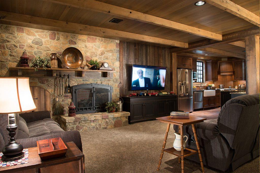 Basement living room design by Interior Fancies